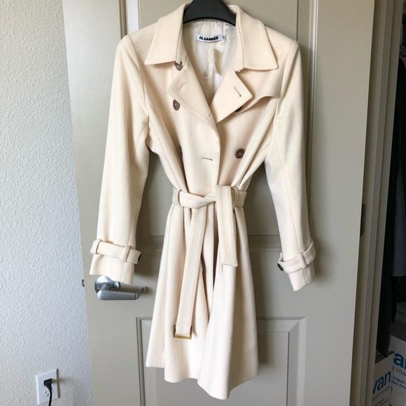 online store e8ffd 92e53 Jil Sander Ivory Short Trench Wool Coat $2,620 NWT